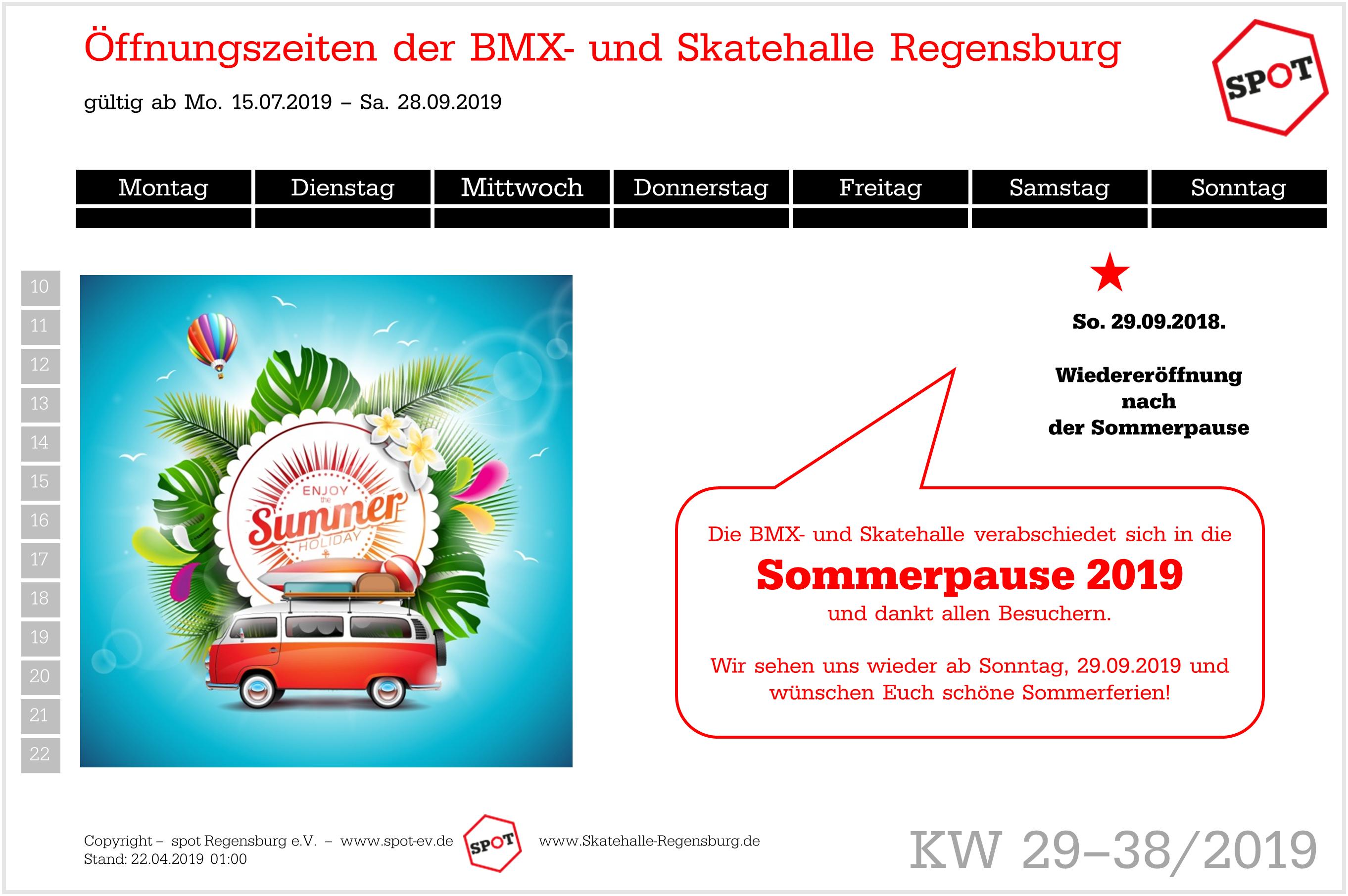 BMX- und Skatehalle Regensburg Sommerpause vom 15.07. bis einschl. 28.09.2019